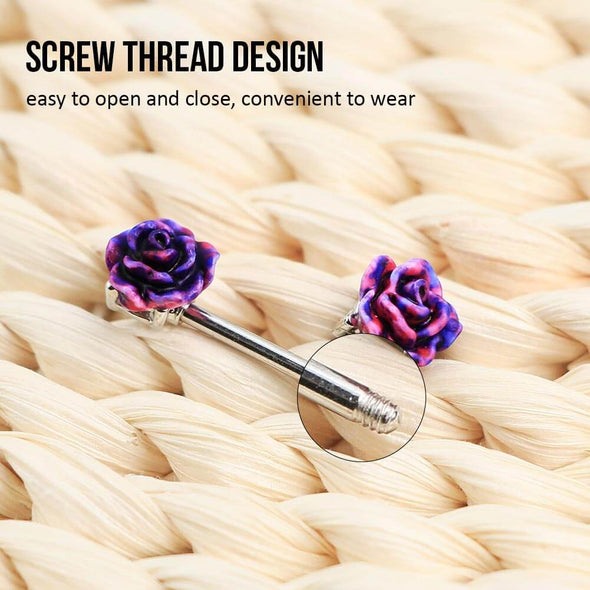 oufer purple rose nipple ring