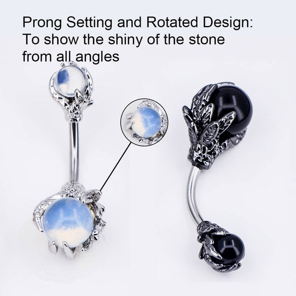 14G White/Black/Rose Gold Opal Dragon-Claw Belly Rings - OUFER BODY JEWELRY