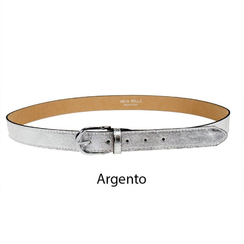Women's Belt with Buckle Laminated Leather 100% Handmade in Italy.