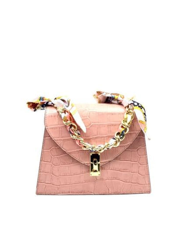 Crocodile Print Chain Top Handle Bag