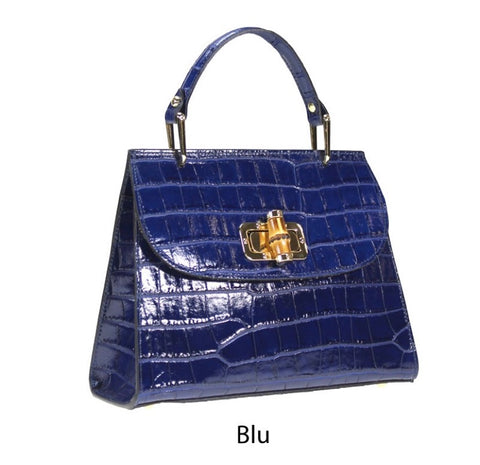 Croco Print Top Handle Leather Bag