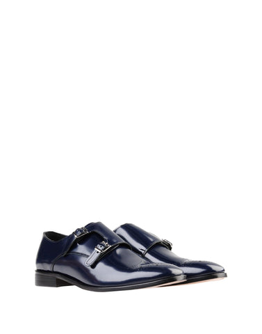 Men's Blue Shoes Slip On Double Monk Strap Buckle Made in Italy
