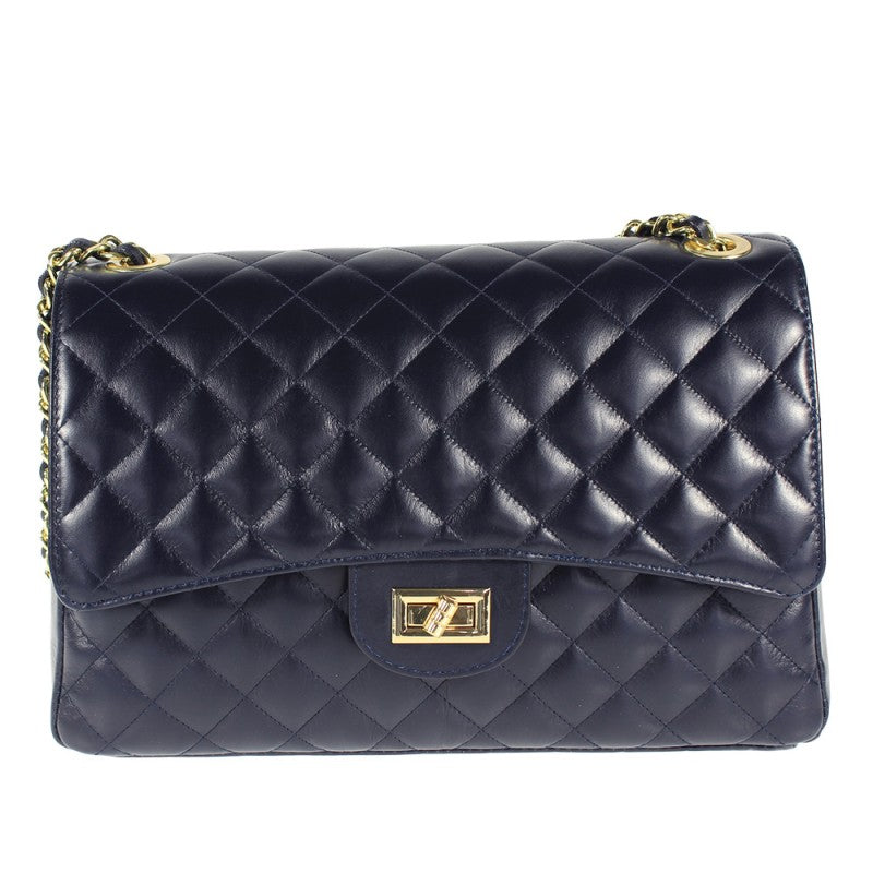 Quilted Soft Leather Oversized Shoulder Bag