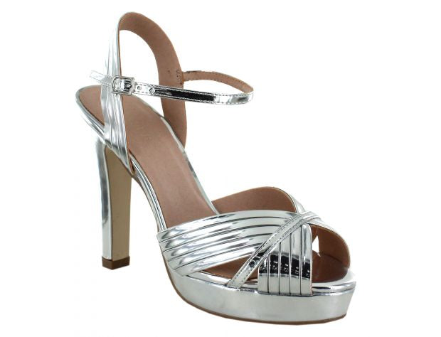 Menbur Silver Shoe Platform High Heel Sandals