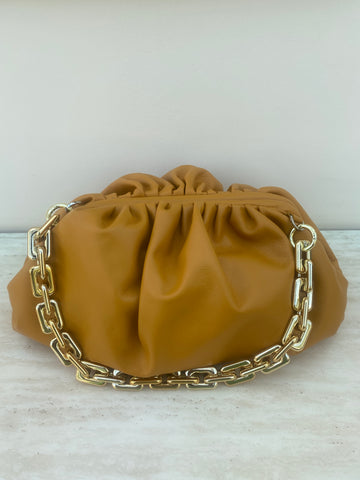 Chain Pouch Leather Large Shoulder Bag