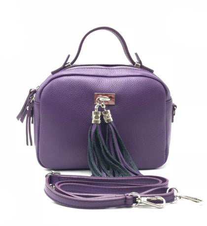 Purple Fringe Top Handle Tote Bag