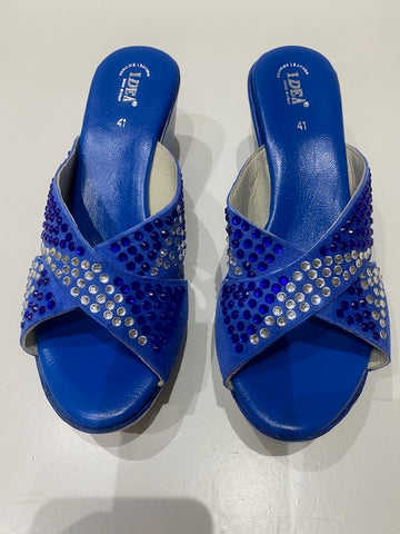 Rhinestone Suede Leather Platform Wedge Sandals