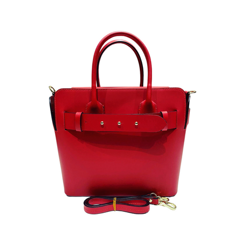 Belted Handheld Leather Tote Bag