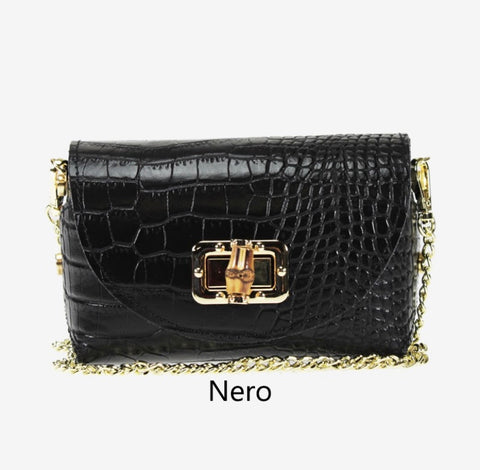 Croc Print Gold Chain Small Shoulder Bag