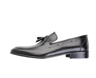 Men's Black Shoes Slip On Tassels Loafers Made in Italy