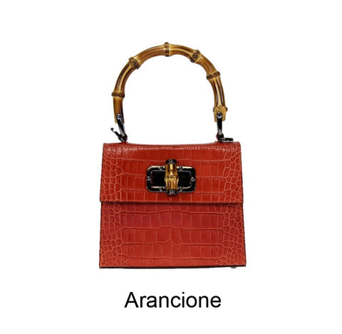 Croc Print Leather Bamboo Handle Tote Bag