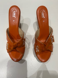Bow Tie Rhinestone Orange Platform Wedge Heel Sandals