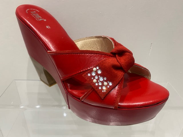 Bow Tie Rhinestone Red Platform Wedge Heel Sandals