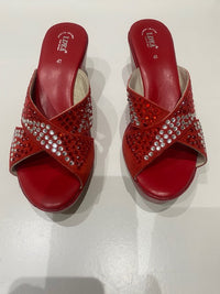 Red Rhinestone Suede Leather Platform Wedge Sandals