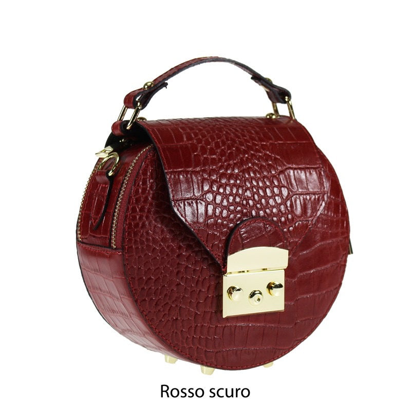 Round Leather Shoulder Bag