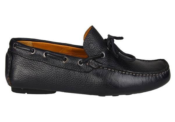 Spaco Black Leather Lace Loafer Shoes