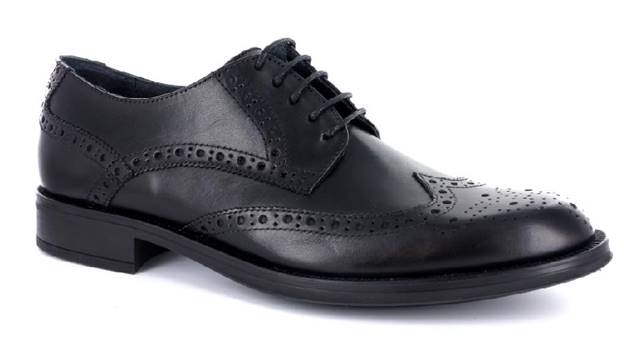 Smooth Leather Black Lace-Up Shoes