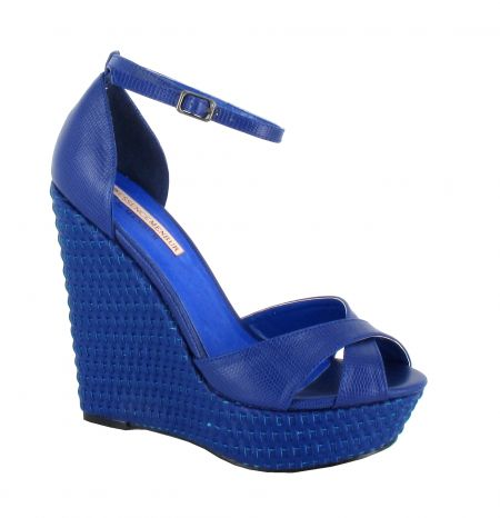 Menbur Blue Platform Wedge Sandals