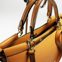 Square Top Handles Leather Tote Bag