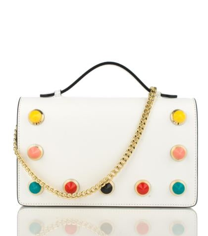 100% Made in Italy Clutches Shoulder Bags with Coloured Studs