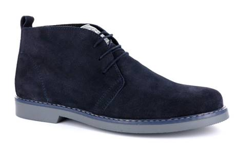 100% Made in Italy Blue Lace Up Suede Desert Boots