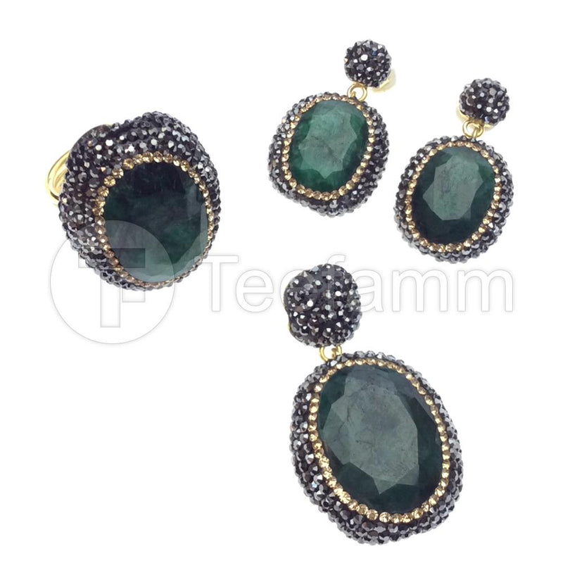 Green Gem and Crystal Artisan Jewellery Sets.