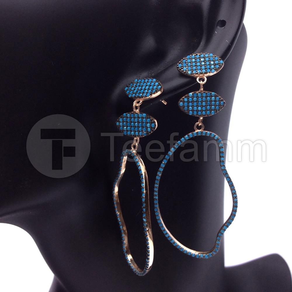 Turquoise Geometric Earrings.