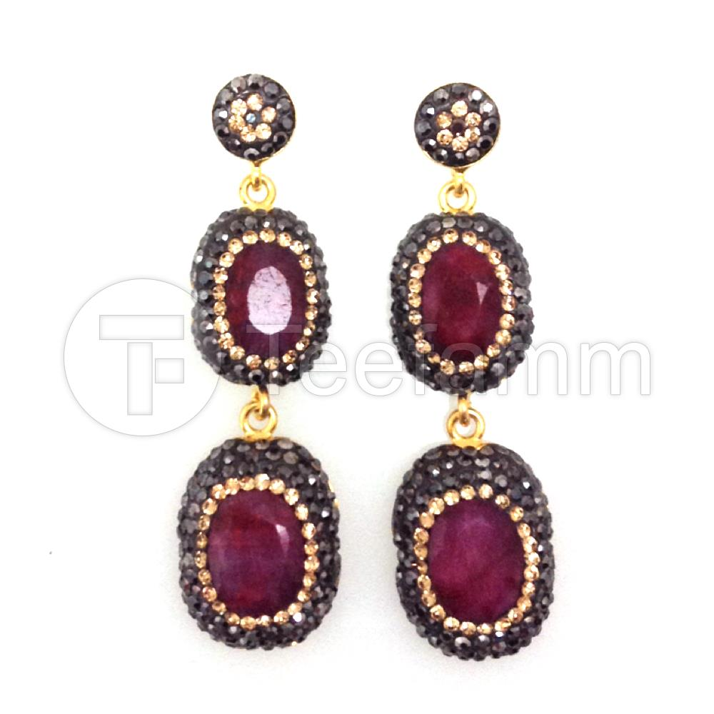 Red Double Drop Gems and Crystal Earrings.