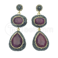 Pink  Double Drop Gems and Crystal Earrings.