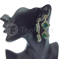 Green Double Drop Gems and Crystal Earrings.