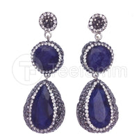 Blue Double Drop Gems and Crystal Earrings.