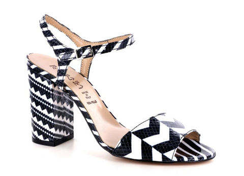 100% Made in Italy Black & White High Heel Sandals