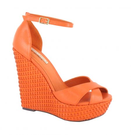 Menbur Orange Platform Wedge Sandals