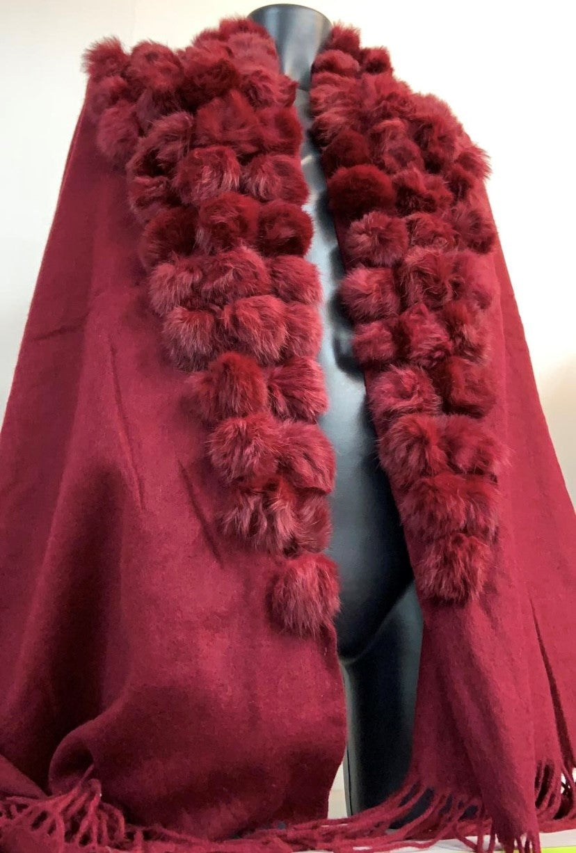 Women Ball Faux Fur Tassel Cape Shawl