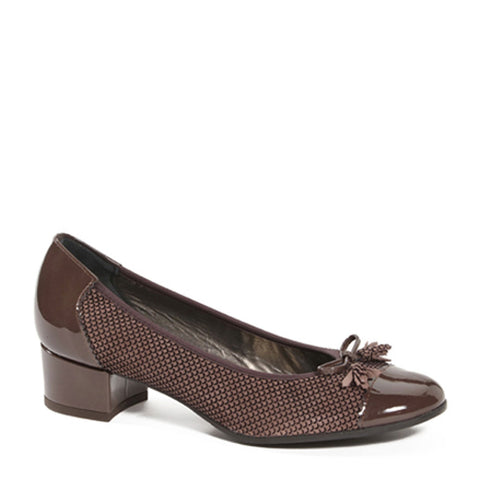 Women's Suede Leather Brown Mid Heel Court Shoes