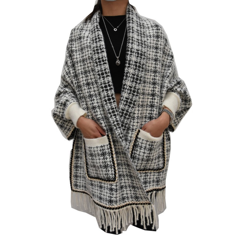 Women Long Sleeve Cape Shawl Poncho
