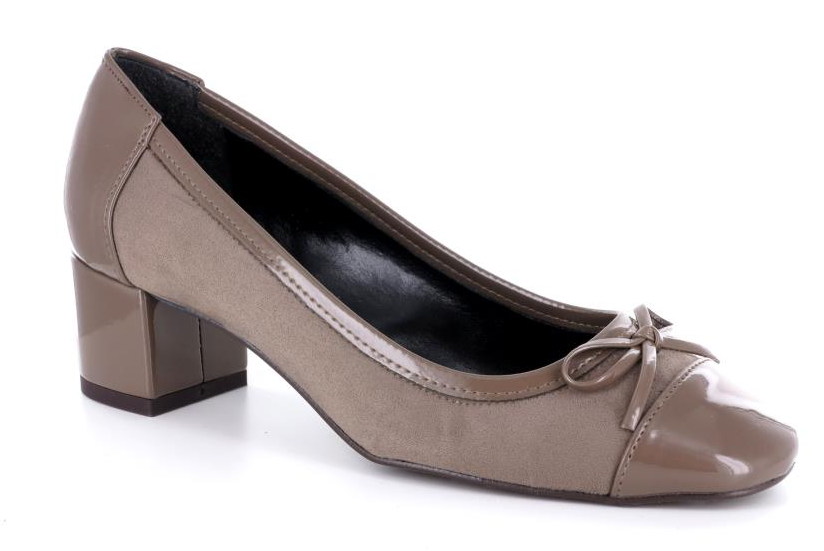 100% Made in Italy Taupe Mid Heel Court Shoes