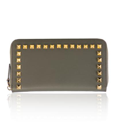 100% Made in Italy Taupe Women's Studded Purse Wallet