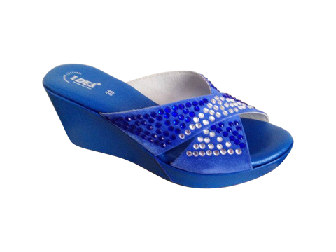 Blue Platform Medium Wedge Sandals