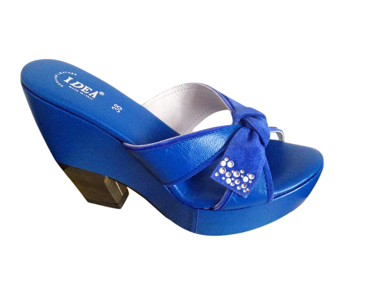 Blue Platform Wedge Sandals