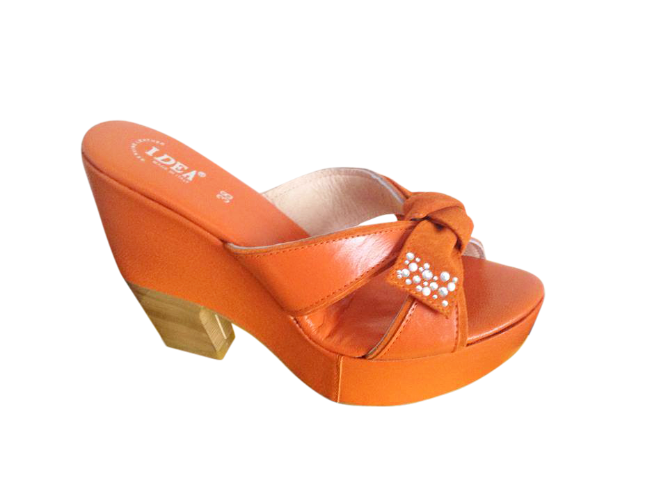 Orange Platform Wedge Sandals