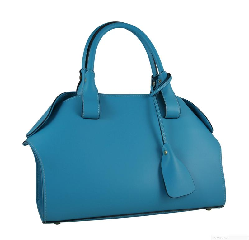 Carbotti Calfskin  Turquoise Leather Tote Bag