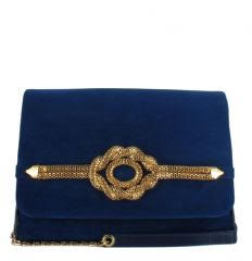 Menbur Blue Suede Shoulder Bag