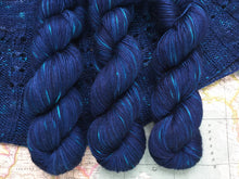 Load image into Gallery viewer, Tanami baby camel and silk 4ply yarn -  Midnight Fireflies
