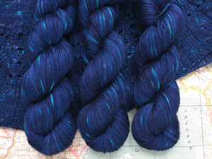 Tanami baby camel and silk 4ply yarn -  Midnight Fireflies