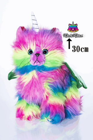 KITCHI - KITTEN  - Rainbow Unicorn Kitty Cuteness with Green Wings