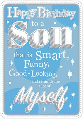 Blue- Son family birthday card. Retail $3.49. Unit Quantity 6. Inside: I am very proud to call you my son...
