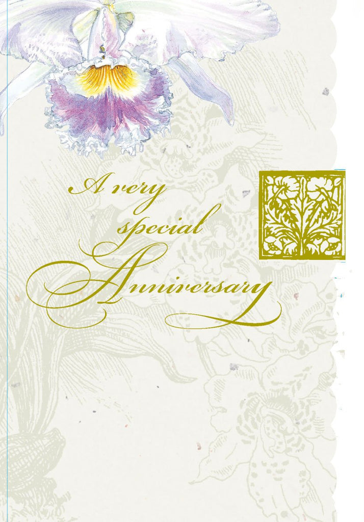 Your anniversary  gold foil embossed die cut anniversary greeting card from Carol Wilson Fine Arts. Inside: May happiness be part of your life for years. Retail: $4.25 Unit pack 6