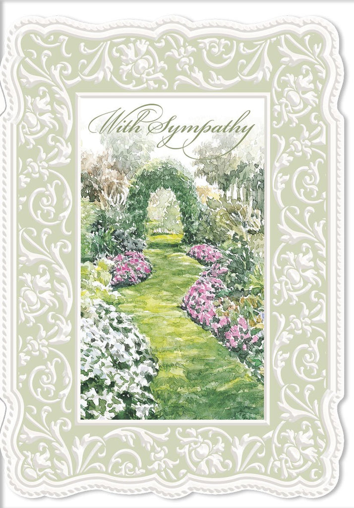 Garden Arch embossed die-cut sympathy greeting card from Carol Wilson Fine Arts. Inside: My friends comfort you, love strengthen you and hope surround you. Retail: $4.99. Unit pack of 6