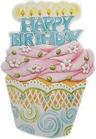 Super size birthday cupcake embossed die cut general birthday greeting card from Carol Wilson Fine Arts. Inside: Wishing you the sweetest birthday ever! Retail: $4.25 Unit pack 6